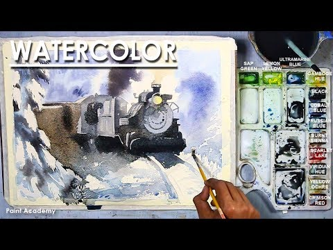 Watercolor Painting : The Train in the Snow