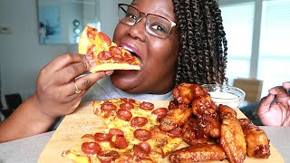 NO YEAST-2 INGREDIENT PIZZA BBQ WINGS RECIPE + MUKBANG | COOKING SOUNDS ASMR 실제 요리 소리