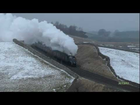 A4 60009 battles the Snow on Shap on The Winter Cumbrian Mountain Express 23rd Feb  2013