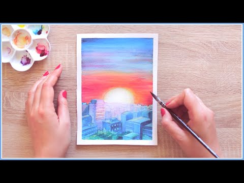 How to Paint a Glowy Sunset Skyline with Watercolors