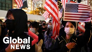 Hong Kong protesters hold rally thanking U.S. for support
