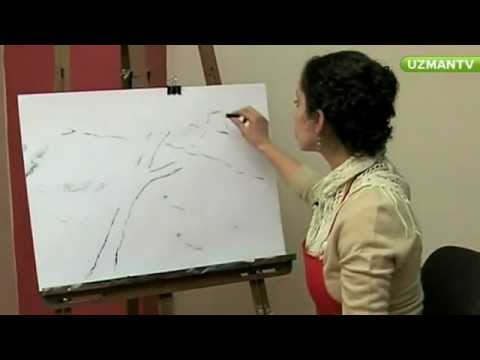 Karakalem Manzara Resminde Güneş Çizme