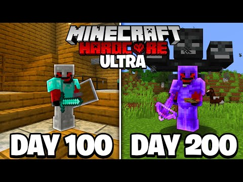 I Survived 200 Days in ULTRA HARDCORE Minecraft...
