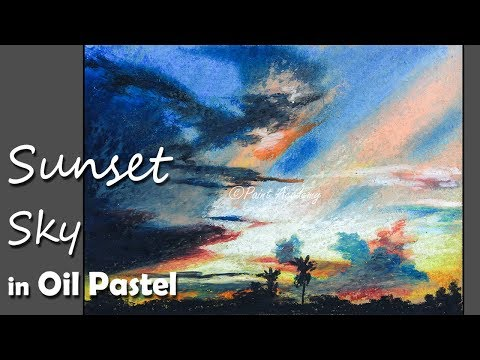 How to Paint A Beautiful Sunset Sky in Oil Pastel