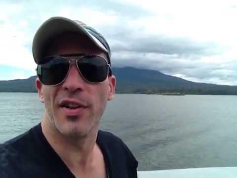 Carlos Melia sailing along Lake Nicaragua