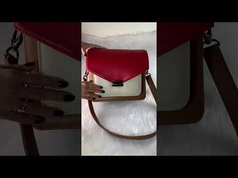 VOGUE Bolsa estruturada tricolor neutra couro legitimo vermelha, caramelo e branco