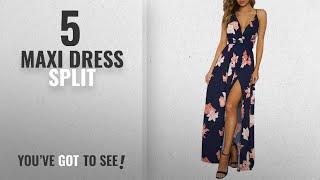 Top 10 Maxi Dress Split [ Winter 2018 ]: BerryGo Women's Sexy Deep V Neck Backless Floral Print
