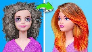 Clever Barbie Hacks vs Disney Princess Hacks Challenge! 13 Dolls Hacks And Crafts