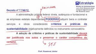 Noções de Sustentabilidade Dica sobre Licitações Sustentáveis