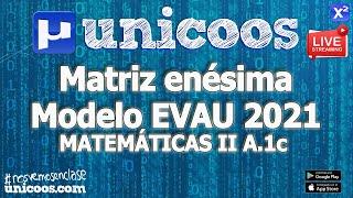 Imagen en miniatura para LIVE!!! Modelo EvAU 2021 - Matemáticas II 02 - Ejercicio A.1c - Matriz Enésima