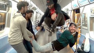 JUMPING OVER PEOPLE IN TRAIN!