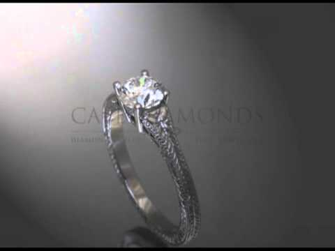 Solitaire ring,round diamond,baroque band,engagement ring