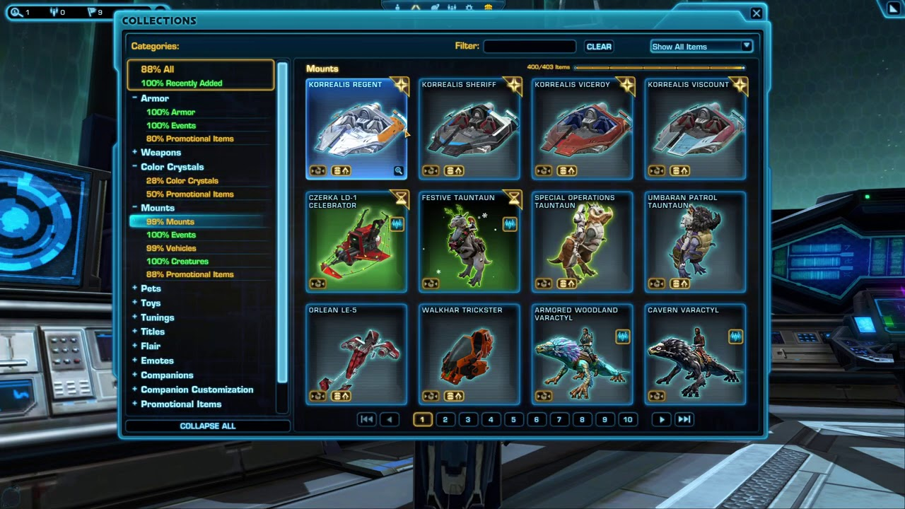 Swtorista - 50% off Collections Unlocks in SWTOR! 50% Crystals & Tunings too, ends Dec 4, 2020