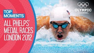 ALL Michael Phelps' Olympic Medal Races from London 2012   Top Moments