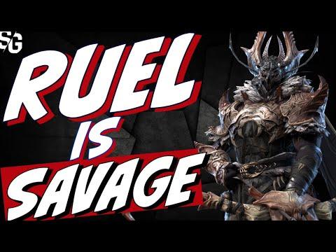 Ruel is SAVAGE! One shot stage 25 waves Raid Shadow Legends Ruel gameplay