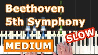 Beethoven Symphony 5 - Piano Tutorial Easy SLOW - 5th Symphony -  No. 5 - How To Play (Synthesia)