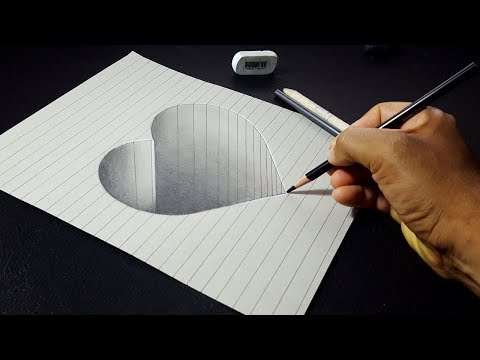 How to Draw a Cute 3D Hole Heart Shape - Easy Drawing Step by Step
