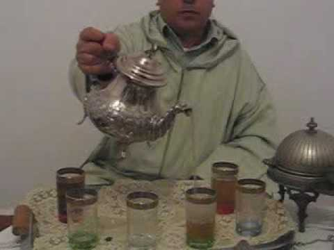 Making a pot of traditional Moroccan mint tea