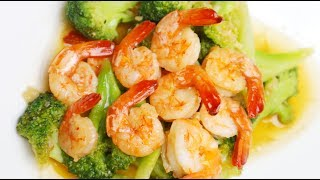 Stir fried broccoli with shrimp recipe - tasty quick recipe