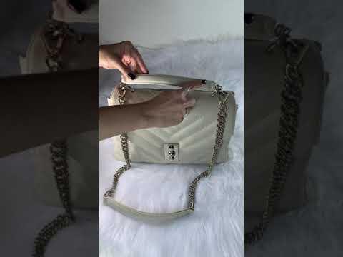 BOLSA LISBOA Bolsa média a tiracolo com corrente couro legítimo off white
