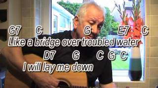 Bridge Over Troubled Water - acoustic cover-easy chords guitar lesson-on-screen chords and lyrics