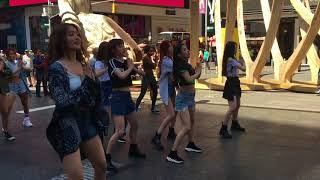 G-IDLE performs LATATA in NY Times Square width=