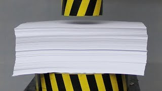 EXPERIMENT HYDRAULIC PRESS 100 TON vs 1000 Sheets of Paper width=