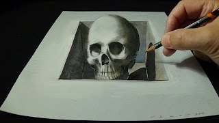 Drawing Skull from the Hole, Trick Art 3D