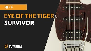 EYE OF THE TIGER - SURVIVOR electric guitar, how to play the MAIN RIFF
