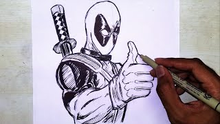 Deadpool Drawing And Inking - Marvel | Superhero drawing