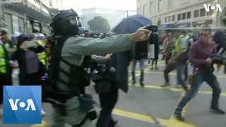 Police Fire Pepper Spray at Protesters in Hong Kong