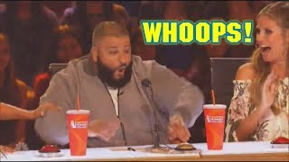 DJ Khaled Confused How Gold Buzzer Works Accidentally Hits Buzzer Fail America's Got Talent