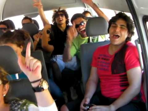 Singing in the mini bus after bungee jumping