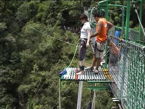 Zana's bungy jump on the river Bhote Kosi in Nepal