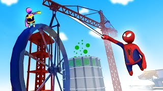 Spiderman Tries to Stop Thanos From Destroying the Nuclear Reactor in Human Fall Flat