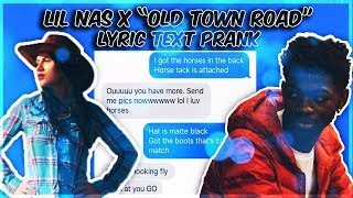 """LIL NAS X """"OLD TOWN ROAD"""" LYRIC TEXT PRANK ON COWGIRL"""