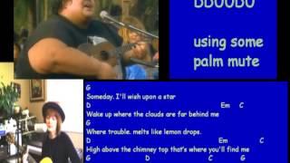 Somewhere Over The Rainbow, Israel Kamakawiwoʻole version, guitar chords and lyrics