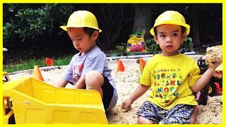 Playing With Construction Cranes, Construction Bulldozer, and Construction Toys dump truck