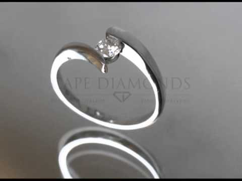 Split band ring,round diamond,platinum band,engagement ring