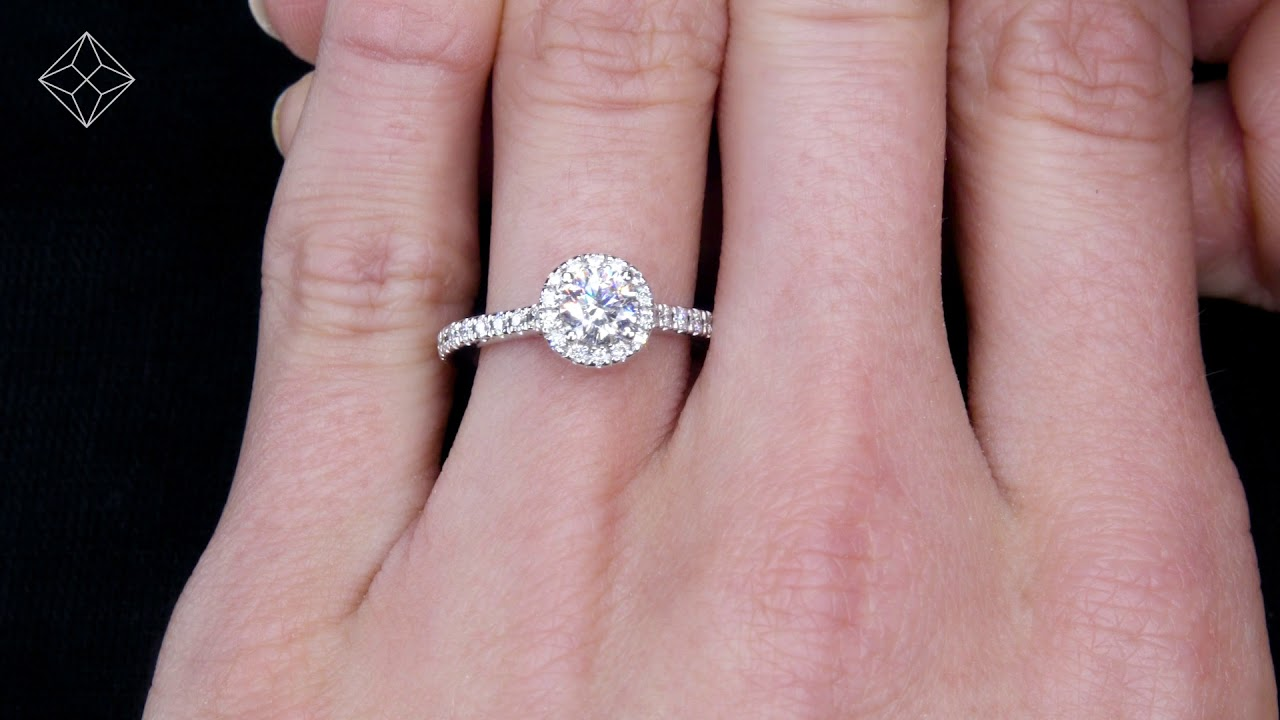 Reina GIA 1.10ct Diamond Halo Engagement Ring in 18K White Gold – UT74
