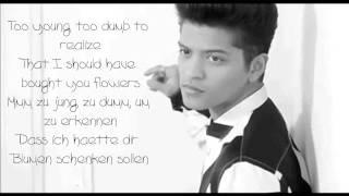 Bruno Mars-When I was your man Lyrics + Deutsche Übersetzung