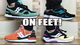 On Feet: 2016 Saucony Originals PB&J Grid 9000, Mint Shadow, Grid 8000, Shadow 5000