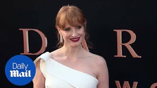 Jessica Chastain rocks cast on her arm at Dark Phoenix premiere