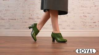 Greta Retro Side-Button Shoes in Green by Royal Vintage