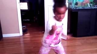 La  La dancing to booty me down
