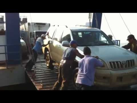 Loading a car onto the Ometepe Ferry