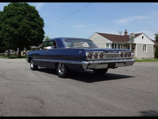 1963 Chevrolet Chevy Impala Hardtop in Blue & 409 Engine Sound on My Car Story with Lou Costabile
