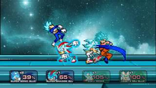 Sonic and Shadow vs Goku and Vegeta SSGSS Battle SSF2 MOD