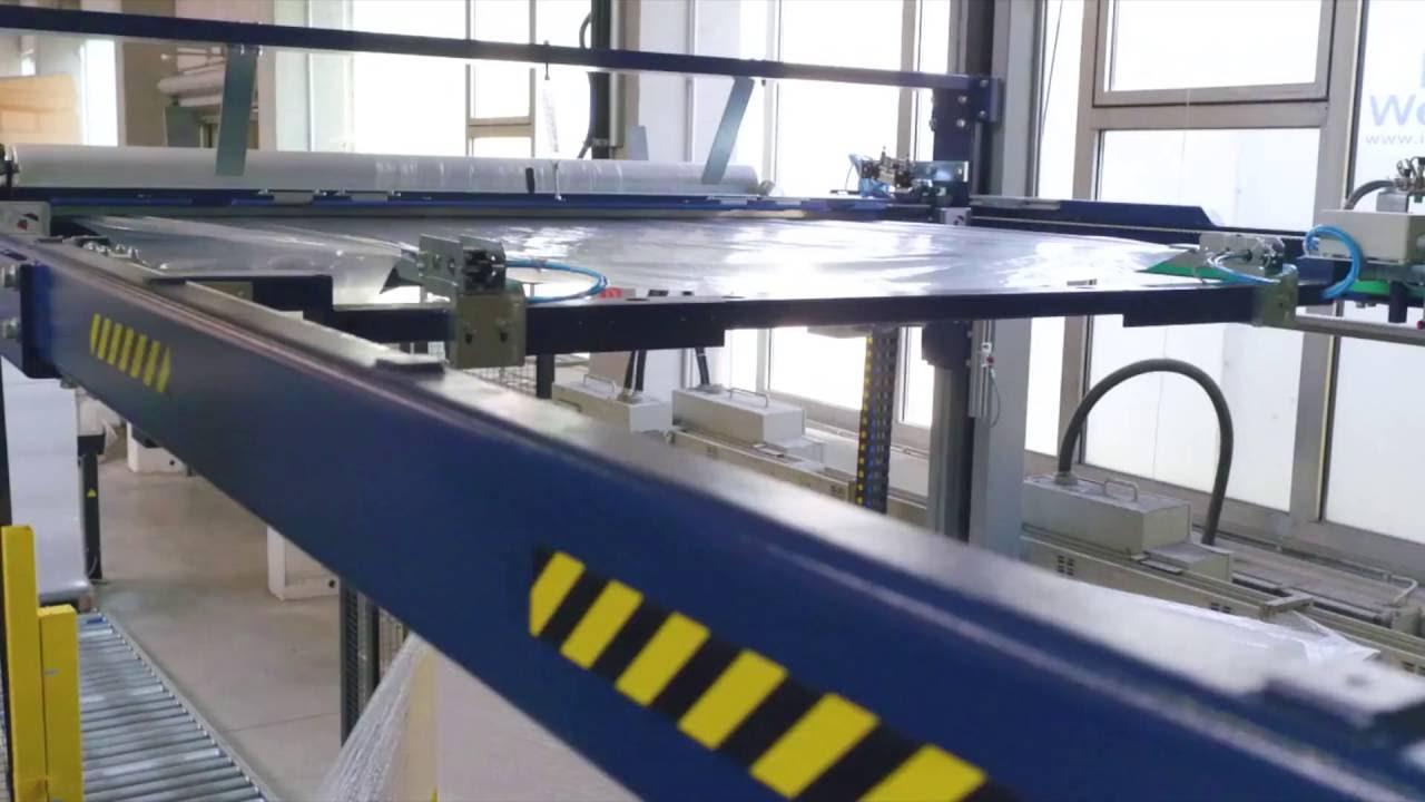 PX 3000-R Vollautomatischer Drehteller-Stretchwickler mit Hubstation und Deckblattaufleger