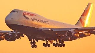 Sunset Plane Spotting at London Heathrow Airport - Runway 09L - Part 1